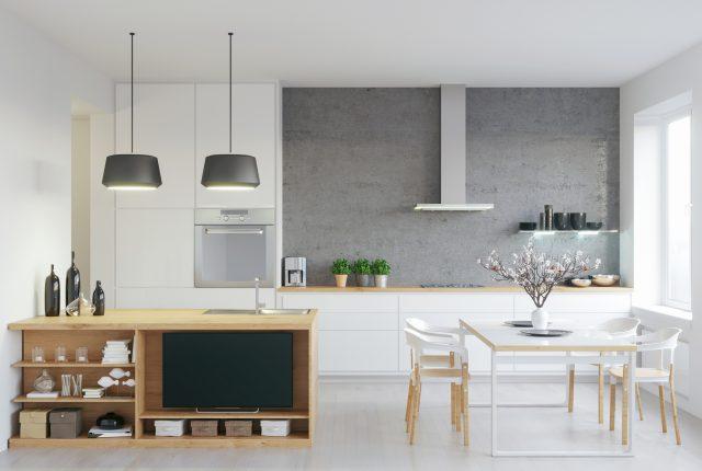Render shot of modern kitchen, with some living room details/